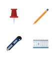 flat icon stationery set of date block knife vector image vector image