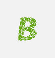 green leaves letter eco alphabet vector image vector image