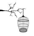 hanging birdcage vector image vector image