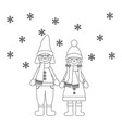 happy kids coloring page coloring page vector image vector image