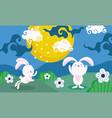 happy mid autumn festival bunnies moon flowers vector image vector image