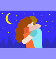 happy young lovers couple hugging boyfriend hugs vector image