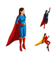 isometry set of superhero girls in different suits vector image
