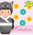 kokeshi japanese national doll in a kimono animal vector image