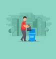 man throws garbage in the trash vector image
