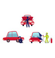mechanic checking painting car and changing tire vector image