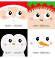 merry christmas santa claus elf snowman penguin vector image vector image