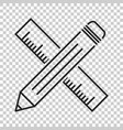 pencil with ruler icon ruler meter vector image