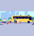 people travel bus public transport station crowd vector image vector image