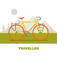 retro bicycle travel flat art vector image vector image