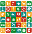 sea and beach flat icons set vector image