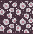 seamless chamomile pattern on violet background vector image vector image