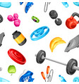 seamless pattern with fitness equipment vector image vector image