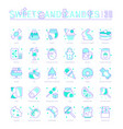 set blue line icons sweets and chocolate vector image