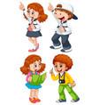 set chidren character vector image vector image