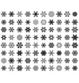 set different black snowflakes on a white backg vector image