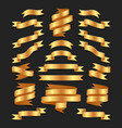 set of hand drawn gold satin ribbons on blacke vector image vector image