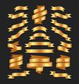 set of hand drawn gold satin ribbons on blacke vector image
