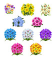 set of patterns with colorful bouquets of flowers vector image vector image