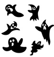 Set of six cartoon ghosts scared and angry vector image