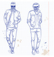 set two men with skull beard vector image vector image