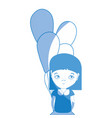 silhouette pretty girl with balloons and casual vector image vector image