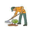 sketch coloured of farmer man vector image vector image
