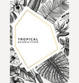 tropical wedding invitation or greeting card vector image