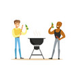 two friends preparing barbecue on a grill and vector image vector image