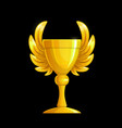 victory cup with golden wings winner award trophy vector image