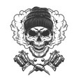 vintage monochrome skull wearing beanie hat vector image vector image