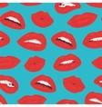 Vintage red lips kiss seamless pattern on the blue vector image vector image