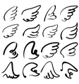 Wings sketch collection cartoon vector image vector image