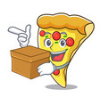 with box pizza slice character cartoon vector image
