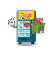 with gift bakery vending machine in a mascot vector image vector image