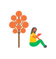 woman sitting under orange tree and reading book vector image vector image
