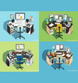 workplace at computer different professions vector image