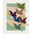Silhouettes of Japanese cranes filled with vector image