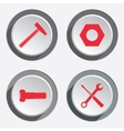 Tools icons set Screwdriver hammer wrench key vector image
