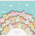 background with doodle houses on circle vector image