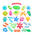 bacteria collection icons vector image