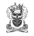 bearded and mustached skull wearing crown vector image vector image