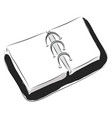 black bookbinder with white papers on white vector image