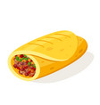burito mexican food vector image vector image