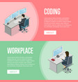 business people working in office at computer vector image vector image