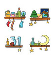cartoon christmas ornaments and decoration on a vector image