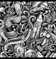 cartoon cute doodles hand drawn diet food seamless vector image vector image
