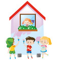 children painting the house pink vector image vector image