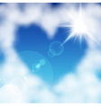 cloud heart sun vector image vector image
