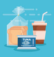 coffee with bread bag and tuna can vector image
